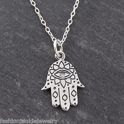 Hamsa with Eye Necklace - 925 Sterling Silver - Protection Jewish Symbol (Jewish Protection)