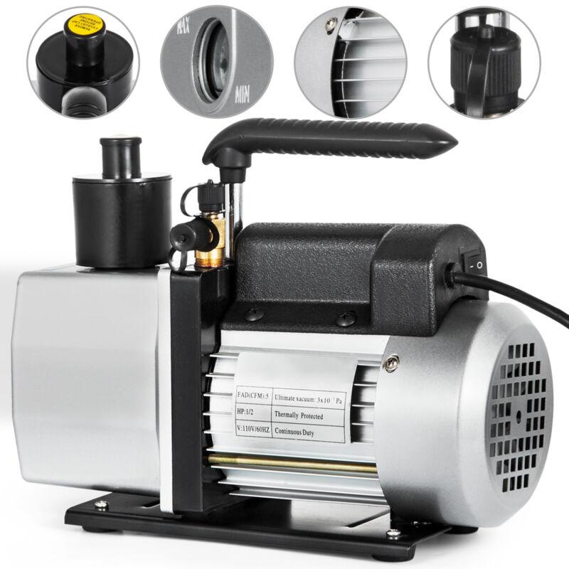 5 CFM Vacuum Pump Rotary Vane 2 Stage 1/2HP HVAC AC Refrigerant Air Conditioning