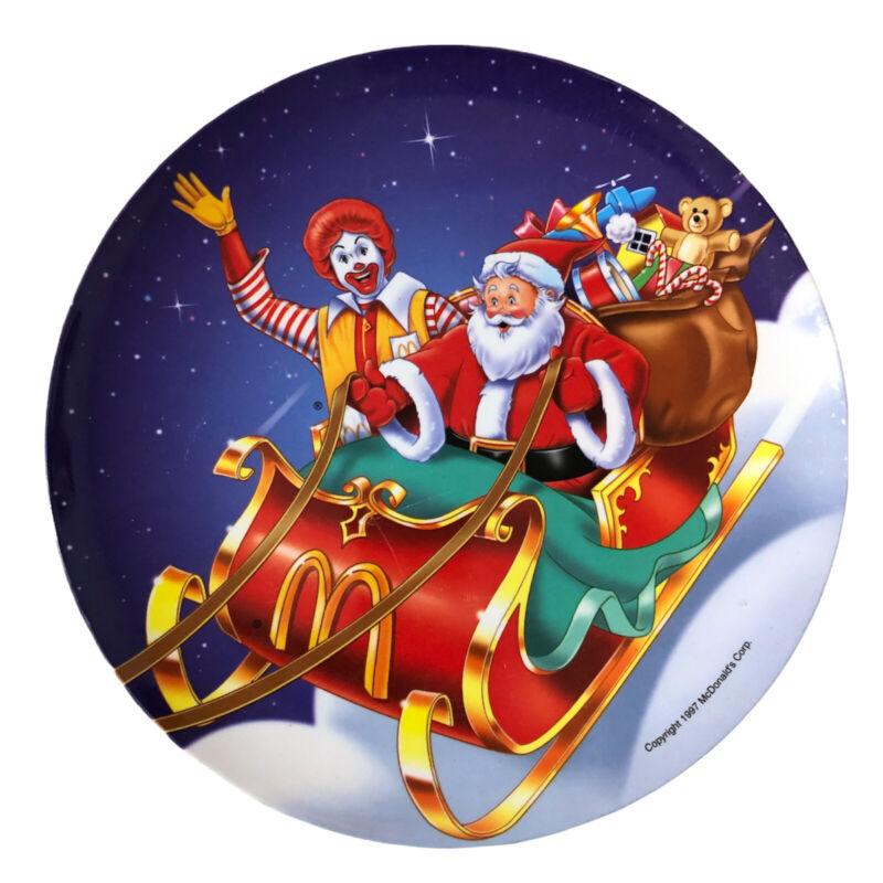 McDonalds  Plate Plastic 1997 Christmas Eve Holiday Ronald Santa Plastic Collect