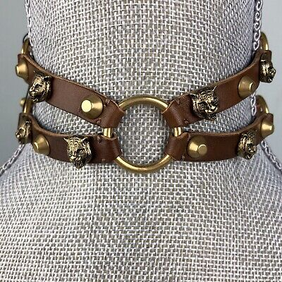 Gucci Brown Leather Feline Choker Necklace Gold Stud Strap Buckle Statement Brown Stud Necklace