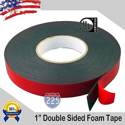 1 Wide Double Sided Acrylic Foam High Strength Adhesive Tape 60 Foot Roll Usa