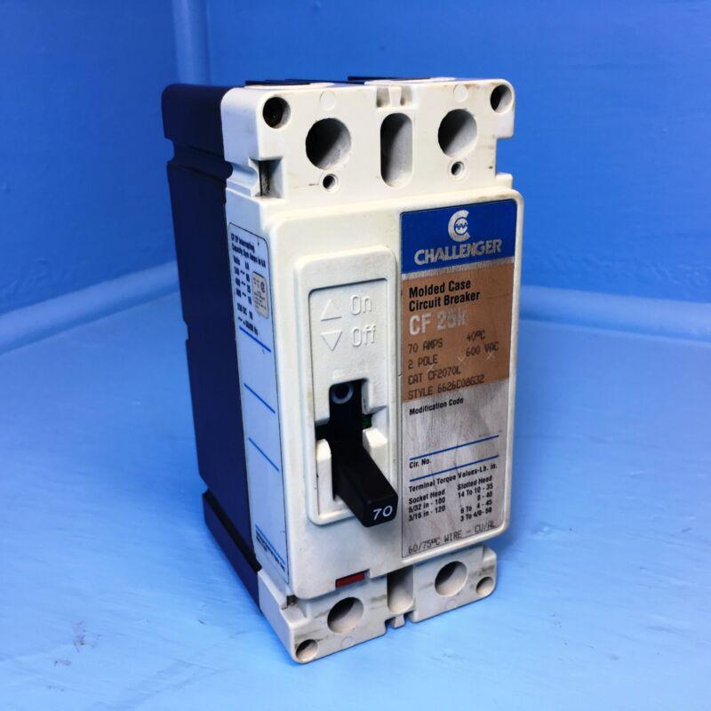 Challenger CF2070L 70A Circuit Breaker 600V 2 Pole CF2070 Cutler-Hammer 70 Amp