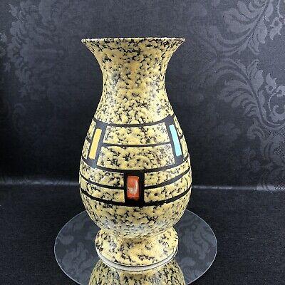 "West Germany Mid Century Modern 11"" Pottery Vase Multicolour Fat Lava Vintage"