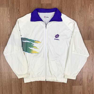 Vintage 90s LOTTO Mens Track Jacket | Italy Retro Sport | Medium M White