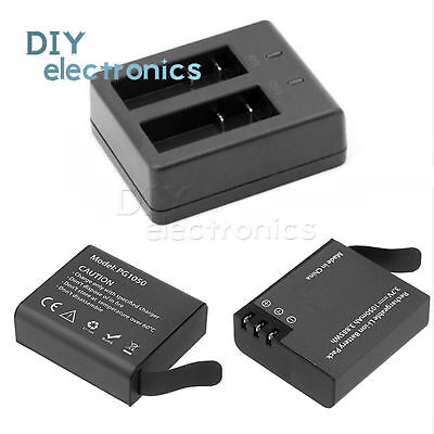 PG1050 Dual Battery and Charger  Eken V8s H8 H9 H8R H9R Sport Action Camera