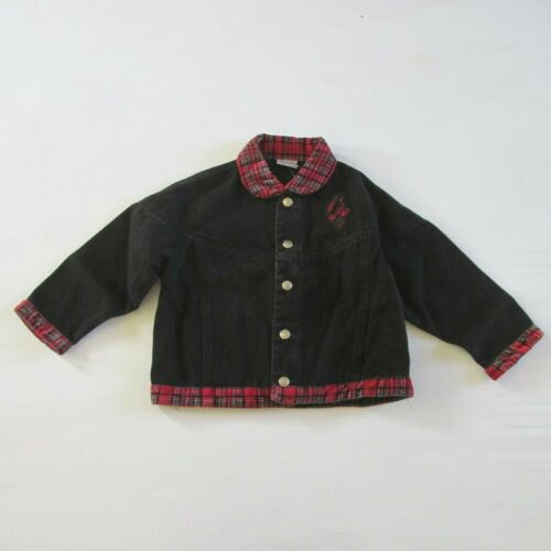 Vintage 90s Deadstock Baby GUESS Girls Denim Jacket in Black With Plaid Trims 2T