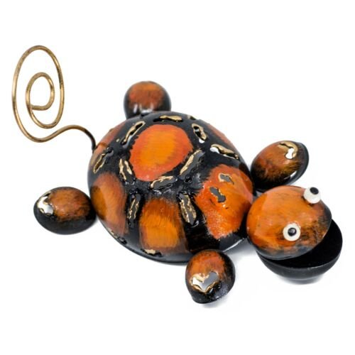 """Hand Crafted Turtle Figurine 4.25"""" Long Curly Tail Cute Tin Metal Sculpture"""
