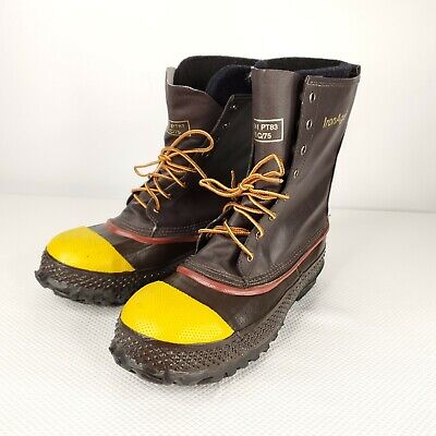 Iron Age Steel Shank Rubber Boots Brown Size 10 ANSI Z41 PT83 M I/75 C/75