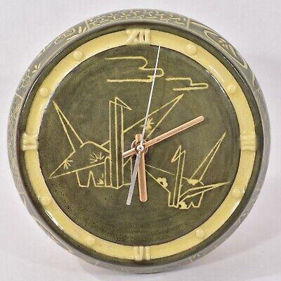 1960s JECO JAPANESE Pottery MID CENTURY Stoneware WALL CLOCK Cranes ORIGAMI