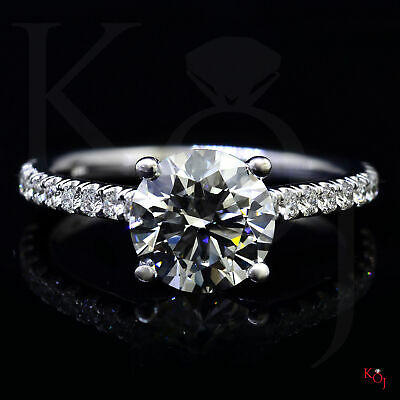 Classic 1.50 Ct. Round Cut Natural Diamond Engagement Ring F VS1 GIA 14k  1