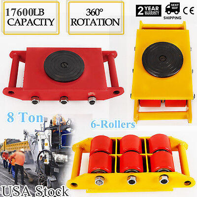 Heavy Duty Machinery Mover Roller Dolly Skate Wrotation Cap 17600lbs Swivel Top