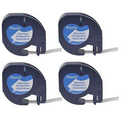 4pk Plastic Tape Compatible For Dymo Letratag Qx50 Lt91331 Black On White Label