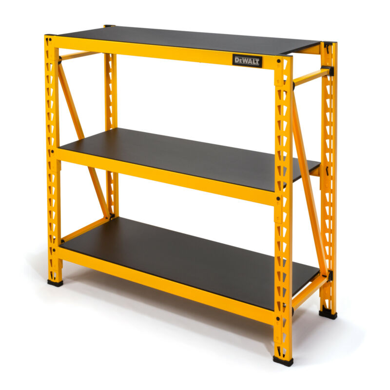 Dewalt 4ft. Tall Steel and Laminate 3 Shelf Garage Storage Rack, Yellow DXST4500