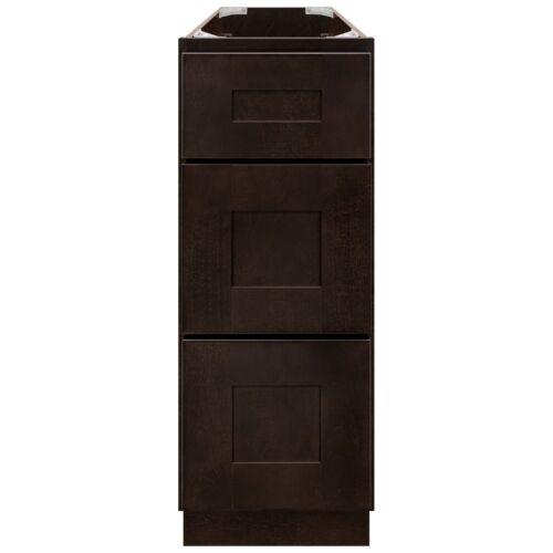 "12"" Bathroom Vanity Drawer Base Cabinet Maple Espresso Shaker by LessCare"