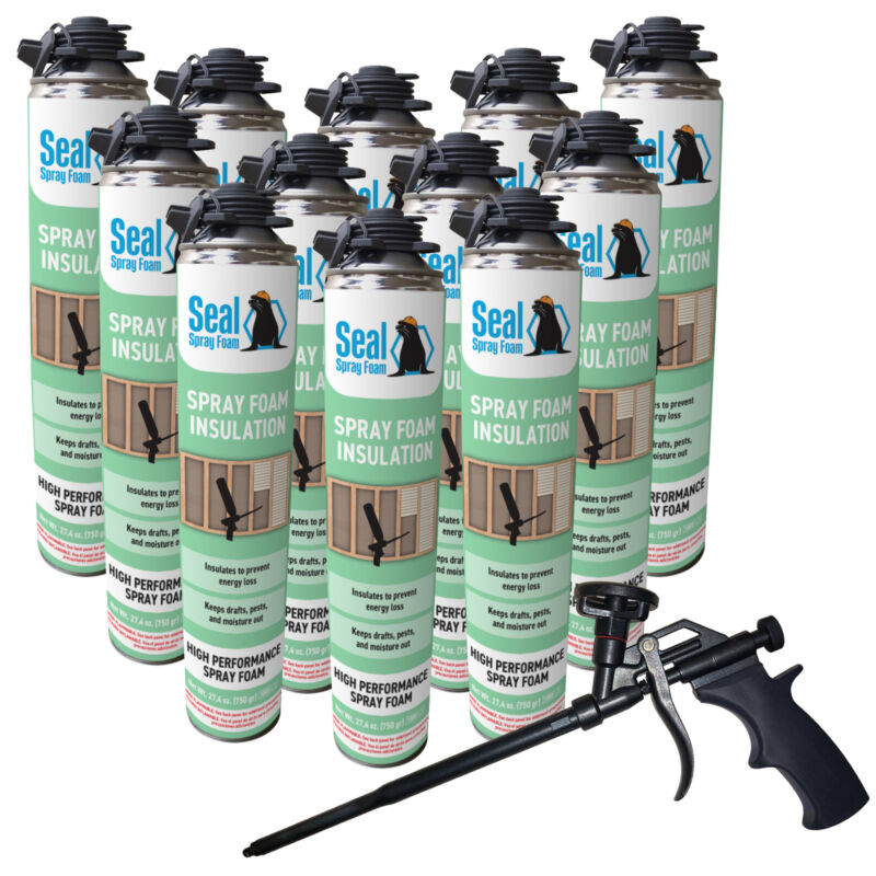Seal Spray Closed Cell Insulating Foam Can Kit w/Gun Foam Applicator (300 BF)