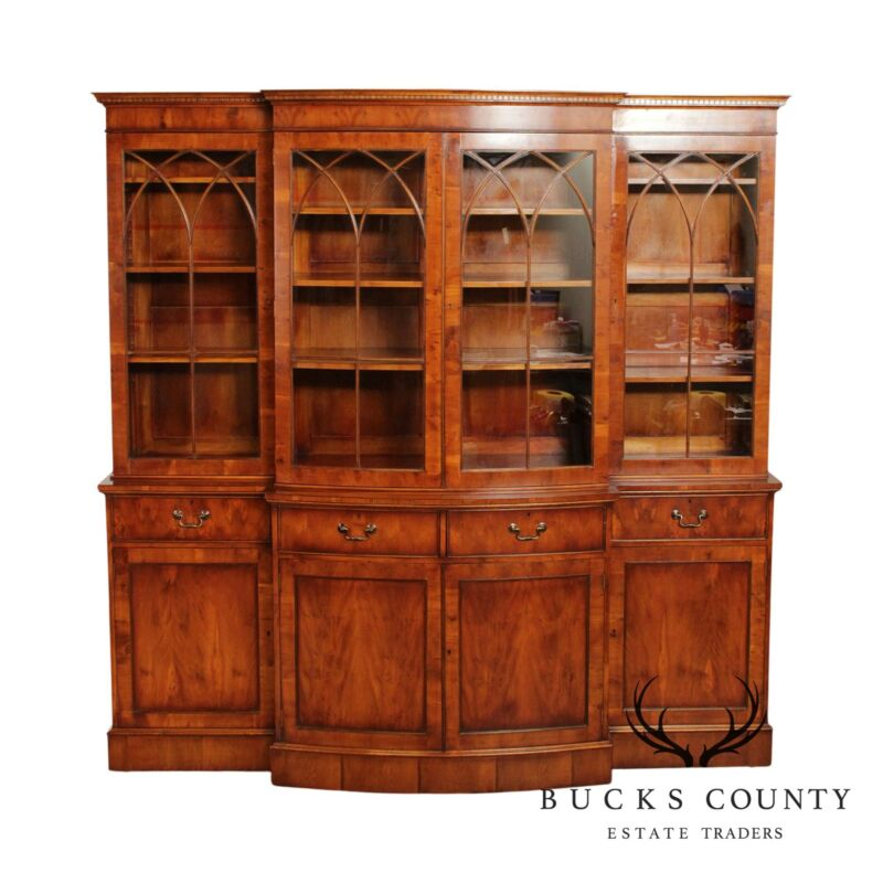 Custom Quality English Yew Wood Breakfront Bow-Front Glazed Door Bookcase