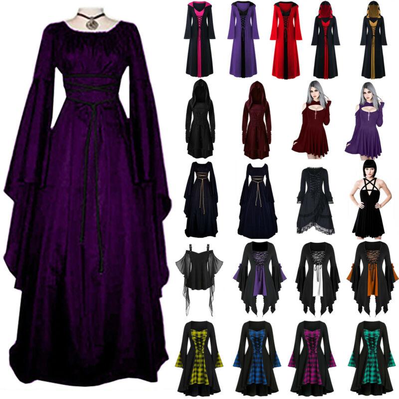 Damen Karneval Kostüm Mittelalter Punk Gothic Hexe Vampir Cosplay Party Kleider