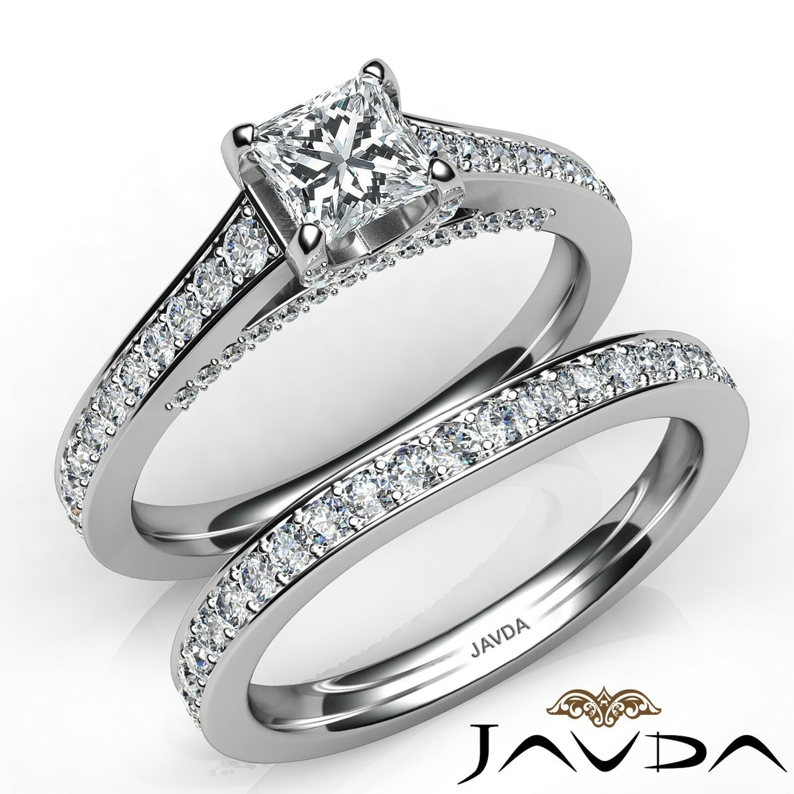 2.05ct Accent Bridge Pave Bridal Princess Diamond Engagement Ring GIA F-VS2 Gold