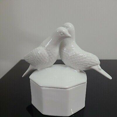 White Pigeon Pair Lidded Octagonal Dish/Display