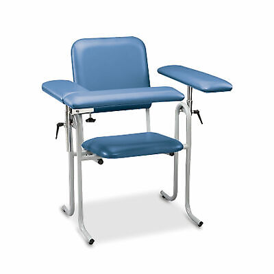 Upholstered Blood Drawing Chair Blue Flip Arm 1 Ea