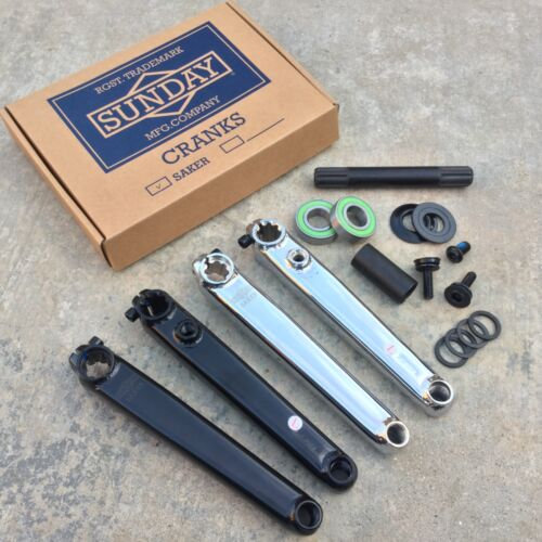 SUNDAY SAKER CRANK V2 BLACK OR CHROME 3 PIECE BMX CRANKS FIT KINK MISSION RANT