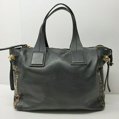 Innue black leather purse fur detail Made in Italy satchel Bag