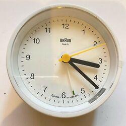 Braun BNC012WHWH Classic Analog Quartz Alarm Clock Travel w/ Protective Plastic
