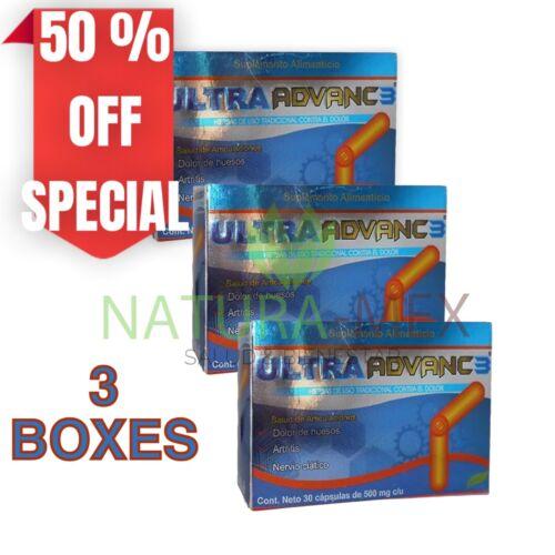 3 BOXES ORIGINAL ULTRA ADVANC 3 ORTIGA CURCUMA JENGIBRE GLUCOSAMINA CALCIO CORAL