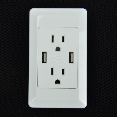 6 Pk Electric Wall Charger Dual Usb Port Outlet Panel Faceplate For Iphone