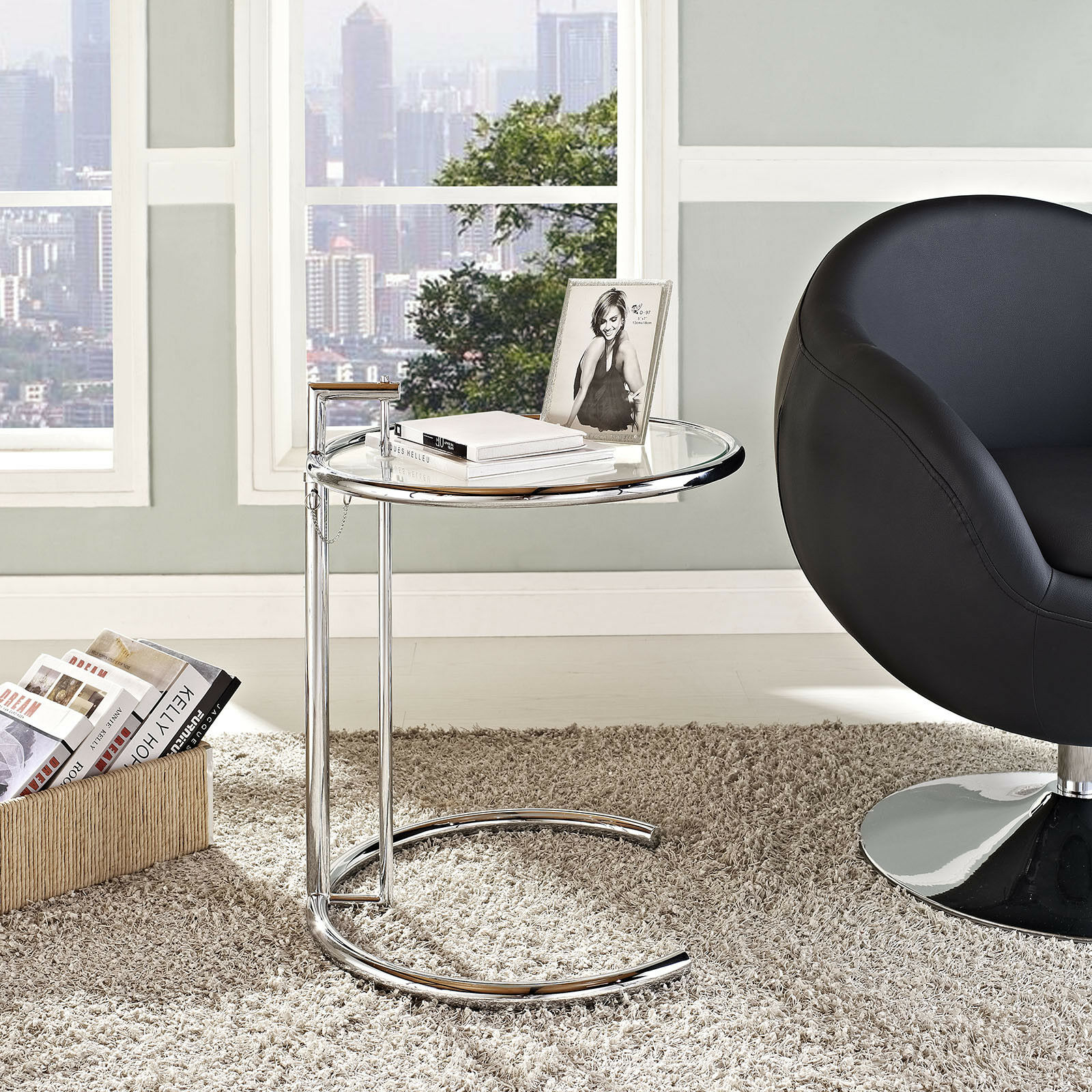 modern round metal and glass living room accent end side