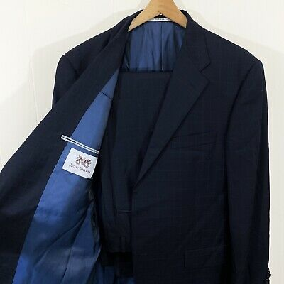 STUNNING Hickey Freeman 42 R Navy Blue Plaid Check Wool Suit Pants 36 X 31+2