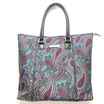 Anne Klein Floral Paisley Large Tote Purse Handbag Purple Green Striped Lining