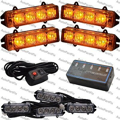 4 Inch 16 Led Amber Waterproof Light Emergency Warning Strobe Flash Hazard