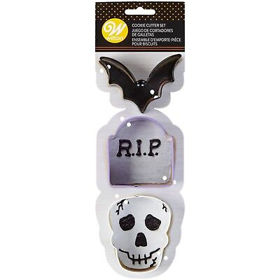 Wilton Halloween Cookie Cutters (Wilton Halloween Cookie Cutters bat skull gravestone Party Supply trick or)