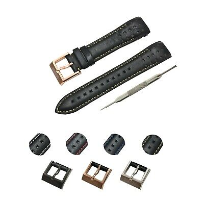 Seiko Black Strap (Comp. Seiko Sportura Watches 21mm Black(Multi Color) Genuine Leather Watch Strap )