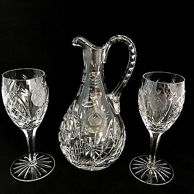 Crystal Wine Liquor Decanter Deep Diamond Cut   Frosted Roses 2 Maching Glasses