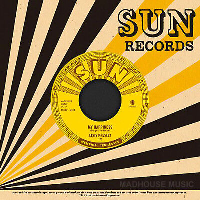"""ELVIS PRESLEY 7"""" My Happiness / That's When Your Heartaches Begin THIRD MAN SUN"""