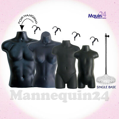 Male Female Child Toddler Torso Mannequin Forms Set Black 1 Stand 4 Hangers