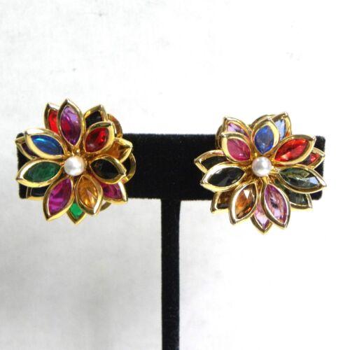 Vintage Glass Flower Earrings Pearl Multicolor