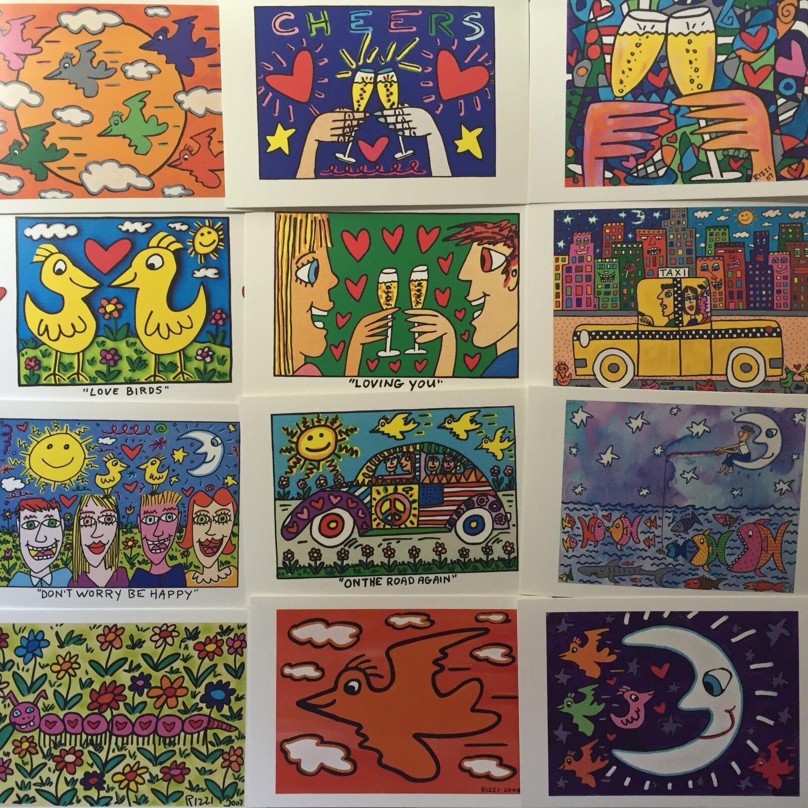 James Rizzi: Postkarten, Kunstkarten - 15 verschiedene Motive / 3D Motive - neu