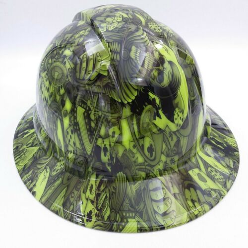 FULL BRIM Hard Hat custom hydro dipped , NEW DEALERS CHOICE LIME  HOT NEW  3