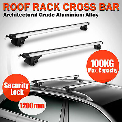 Universal Aluminum Car Top Roof Rack Locking Cross Bars Rail Aero Lockable WW