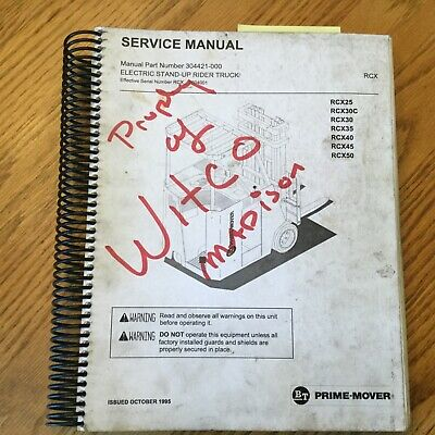 Bt Prime Mover Rcx 253035404550 Service Shop Repair Manual Fork Lift Truck