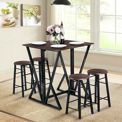 5 Pieces Dining Room Bar Table Set,4 Bar Stools (Counter Height,Dark Coffee) US