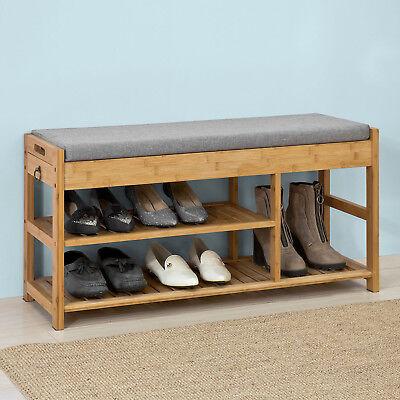 Bambus Schlafzimmer Schrank (SoBuy® Schuhbank mit Sitzkissen Sitzbank Schuhschrank Schuhregal,bambus,FSR47-N)