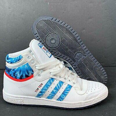 Men's Adidas Top Ten High Top Basketball Sneakers Sz 10 Tie Dye Blue White ()