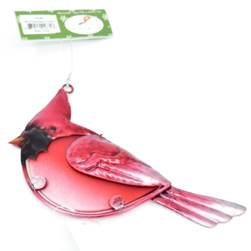 Metal & Glass Red Cardinal Bird Hanging Suncatcher Ornament