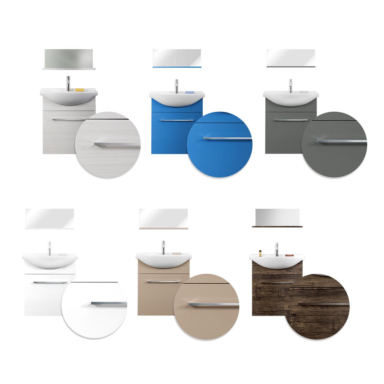 Mobile bagno sospeso lavabo ceramica specchio mensola design moderno salvaspazio
