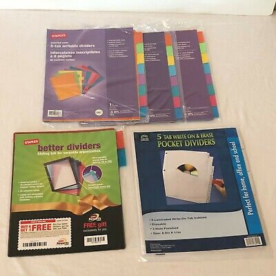 Staples Paper Dividers 8 Tab Writable Colored Better Dividers 5 Tab Write On