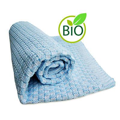 Baby-Decke Kuscheldecke Schmusedecke Babydecke Karo Bio Baumwolle 80x80 cm blau